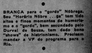 """Durval de Souza em """"Horário Nobre...ga"""" com Manoel de Nóbrega"""